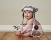 6-12 Month or 12-24 Month  Girl Sock Monkey hat with Earflaps and Braids