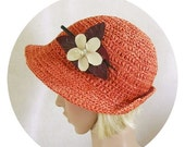 Closing Shop Terra Cotta Big Brim Woman's Hat, Crocheted