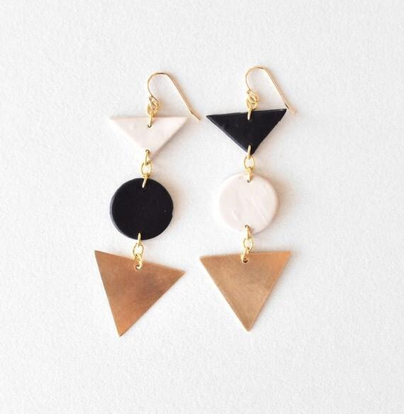 asymmetry earrings(black and beige)
