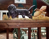 Custom Pet Portrait Black Retriever flushing Grouse 4ft. chainsaw sculpture wood carving mount or stand dog of your choice hunting/sport art