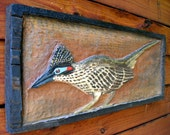 """Road Runner 25"""" chainsaw wood desert carving detailed wild bird with distressed frame one piece wall hanging western home/office decor"""