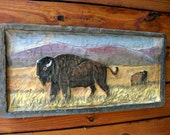 "Buffalo on Prairie Scene 32""rustic wood framed relief chainsaw carving bison wall mount primitive western wildlife original art sealed"
