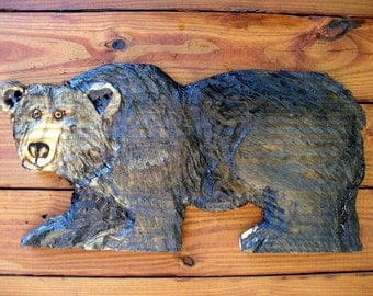 "Black Bear  24"" chainsaw wood bear carving country living indoor outdoor rustic home wall mount original wildlife sculpture log cabin art"