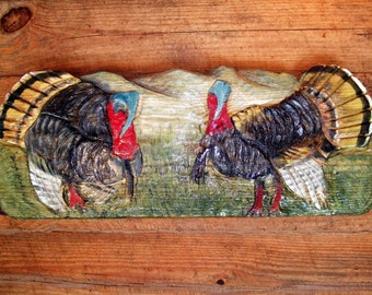 """Wild Turkey 36"""" colorful chainsaw carving & painting country living wall hanging wooden bird sculpture wildlife game decor original art"""