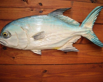 """Pompano 27"""" chainsaw wood angling fish carving rustic nautical home accent indoor/outdoor detailed wall mount original home decor"""