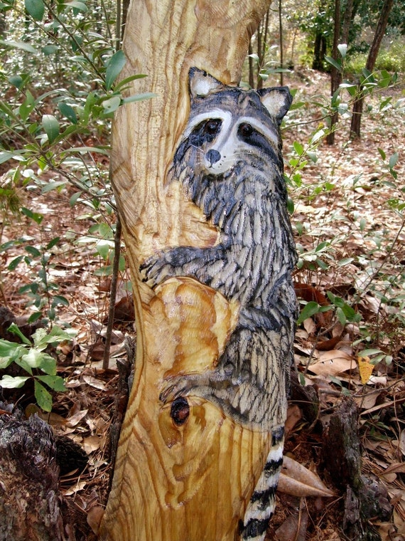 Raccoon in tree foot chainsaw wood carving rustic by