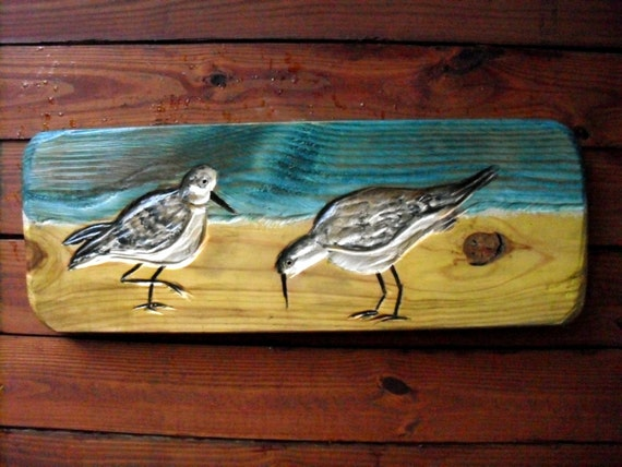 Shorebirds beach scene seagulls relief inch by oceanarts