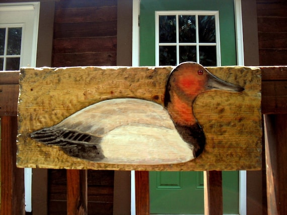 """Rustic Canvasback Duck 25"""" chainsaw wild bird carving sealed detailed wall art home cabin decor wildlife duck sign"""