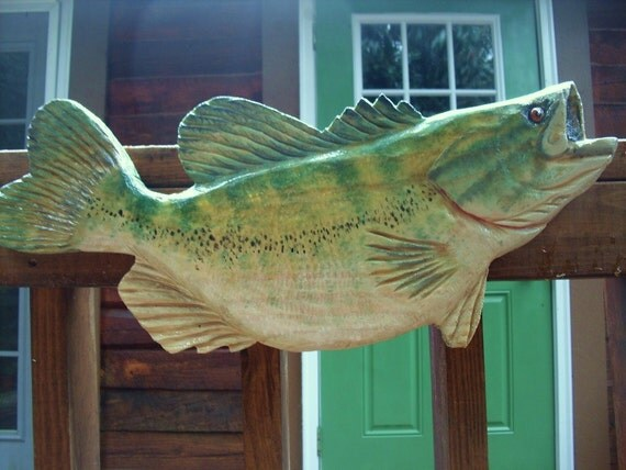 Large mouth bass jumping chainsaw wood carved by