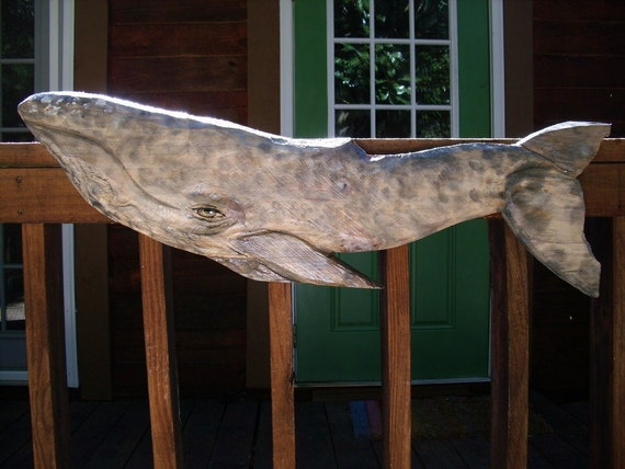 """Gray Whale 39"""" chainsaw wood carving realistic sculpture home patio deck decor nautical saltwater ocean wall mount coastal living art"""