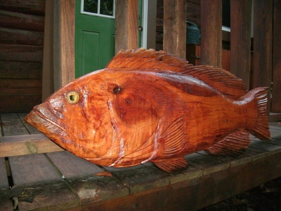"""40"""" long x 17"""" wide x 2"""" thick Red Grouper sculpture  natural reclaimed cherry wood chainsaw carving sealed home decor wall art"""