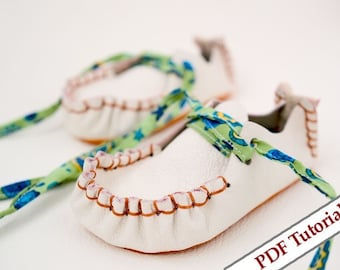 Children Leather Retro Shoes sizes 19 to 27 - PDF. pattern and photo - video tutorials