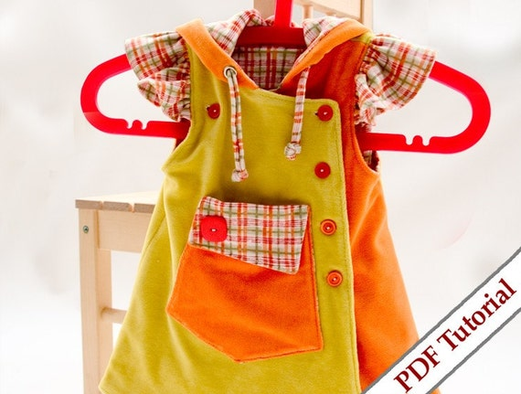 Girl's ruffles hoody dress sewing pattern - e - book