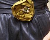 Custom Silk Rosette Brooch or Clip for Dress or Hair