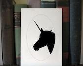 U is for unicorn animal silhouette