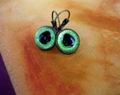 SOLD - Steampunk Gothic Fairy - Earrings - Dragon Evil Eye -  Green Mint Cute Frog  - Color Shift - one of a kind