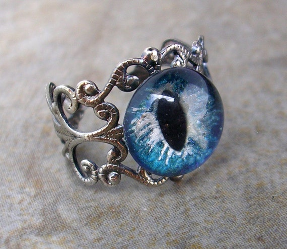 Steampunk GLOW UV - Ring - Dragon Evil Eye - Blue Silver Storm - OOAK - Color Shift - dark macabre creepy hand painted - one of a kind 12mm