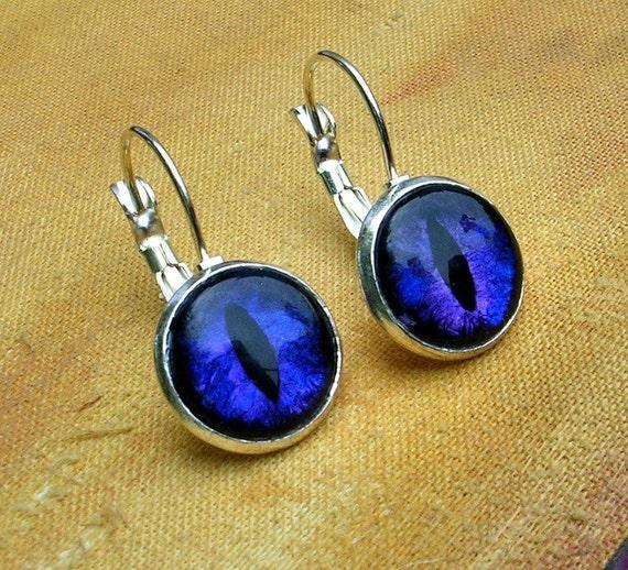 Steampunk Gothic - Earrings - Dragon Evil Eye - Violet Purple Blue - Color Shift - fun dark macabre creepy silver - one of a kind 12mm