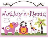 Personalized (Sweet Safari Girl/Animals) Wood Sign/Plaque So Cute