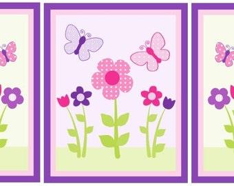 Set of 3  (Happy Flower/Butterflies) 8x10 Digital/Printable Art Prints