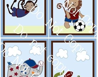 "Set of 4 Unframed ""Safari Sports Animals"" 8x10 inch Linen Look Nursery Wall Art Prints Baby Children Kids Decor"