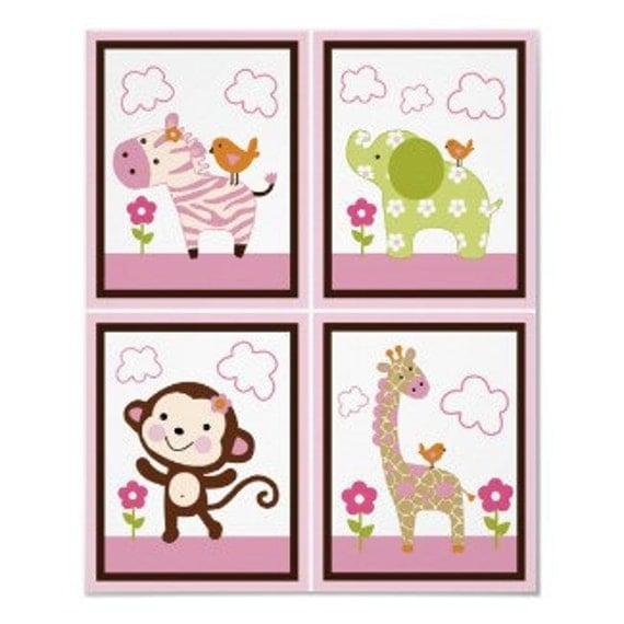 Set Of 4 Unframed Jungle Jill Girl Animals 8x10 Nursery