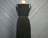 1960s Black Chiffon COCKTAIL DRESS / Draping Back, s - m
