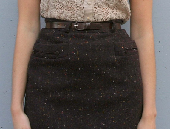 Vtg 1950s Tweed Wool PENCIL SKIRT / BROWN & Multi colored Fleck Pocket belted XSmall xs