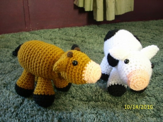 Hand Crocheted Stuffed Cow Toy