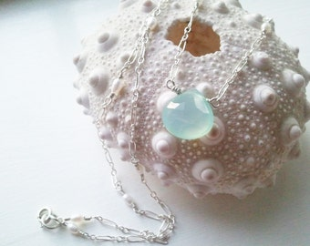 Pale Aqua Blue Chalcedony and Tiny Pearls Mermaid Necklace  by Quintessential Arts