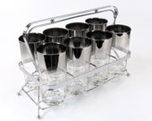 Vintage Ombre Silver Rimmed Bar Set with Chrome Caddy