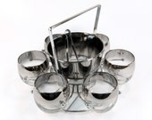 Mad Men Vintage Ombre Silver Rimmed Roly Poly Bar Set with Chrome Caddy
