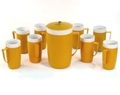 Vintage Therm-O-Ware Pitcher Set with 8 Cups / Tumblers Autumn Yellow Mustard Color