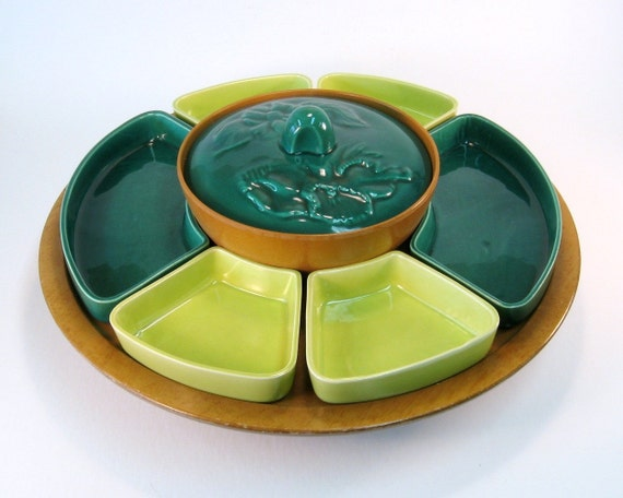 Vintage Two Tone Green Lazy Susan Chip and Dip Set