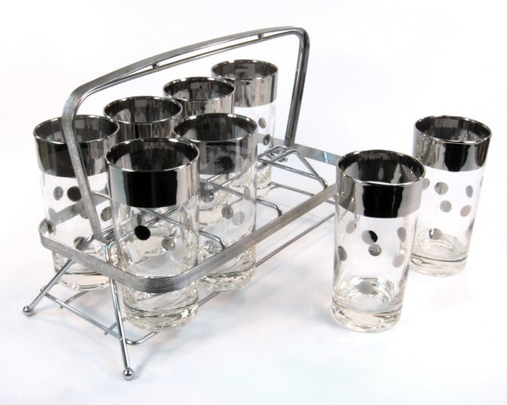 Vintage Cocktail Set / Barware Mid Century with Chrome Caddy and Polka Dots