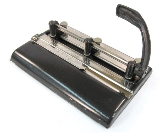 Vintage Industrial Three Hole Punch - Functional Office Decor