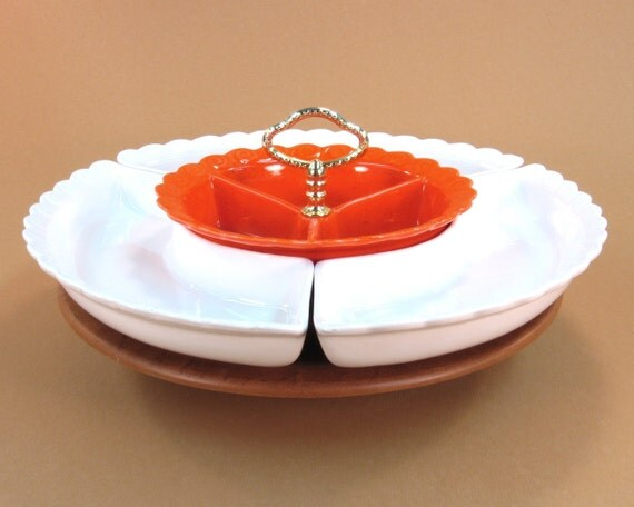 Lazy Susan Chip and Dip Set / Orange and White Mad Men Style / Thanksgiving Table Vintage Serving Dish / University of Tennessee Football UT