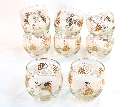 Vintage Cocktail Glasses / 8 Roly Poly Mid Century Barware