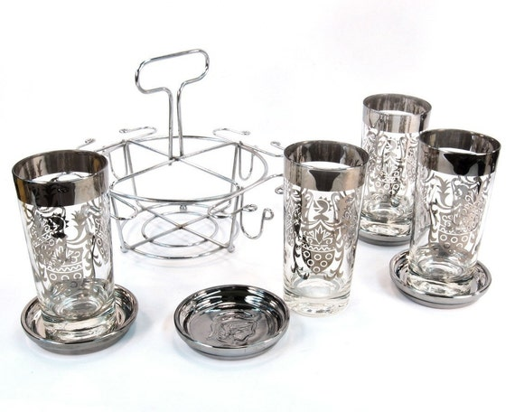 Mad Men Cocktail Set / Barware Mid Century with Chrome Caddy and Coasters