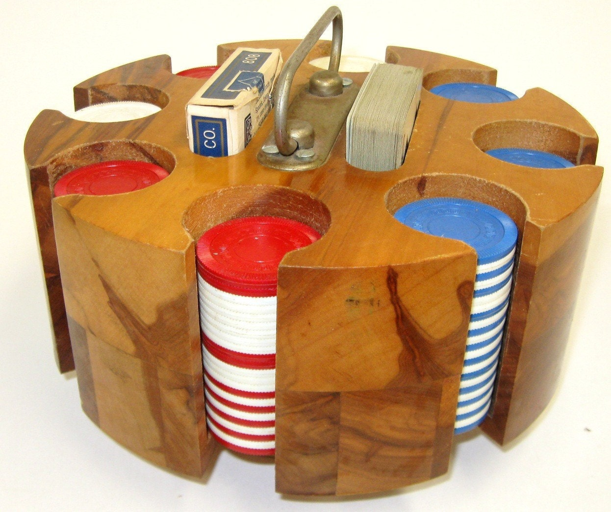 Vintage Pla Wood Products Poker Chip Caddy