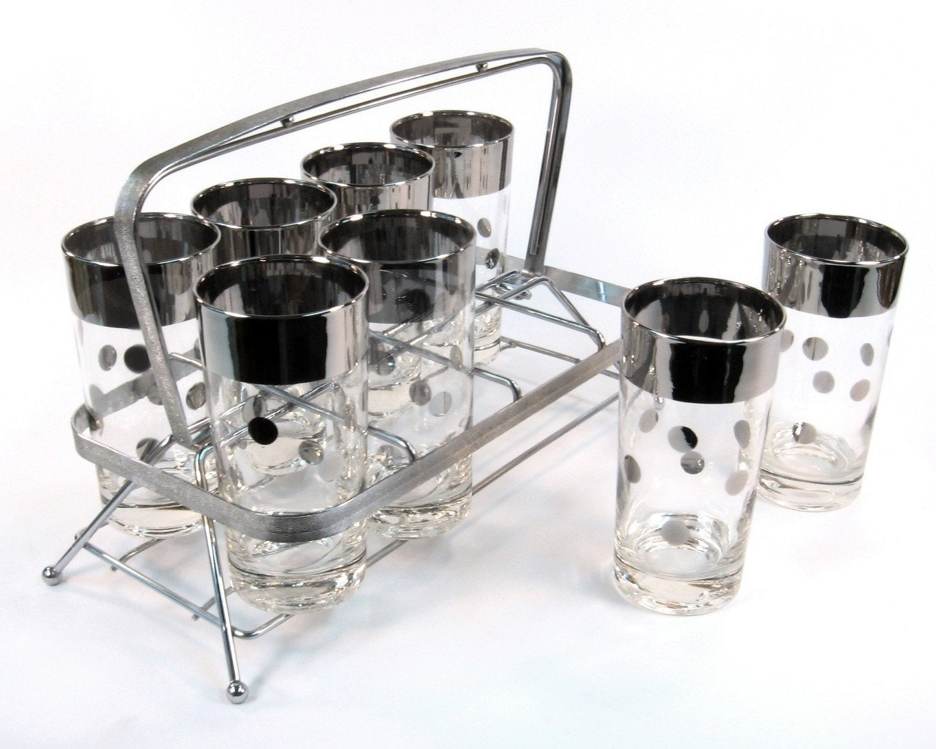 vintage cocktail set barware mid century with chrome caddy