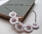 Hand Embroidered Wool Felt Choker Rose Ivory