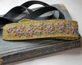 Hand Embroidered Wool Felt Headband Olive Green Plum Pewter Grey in Faded Flowers in the Hallway pattern MADE TO ORDER