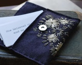Hand Embroidered Wool Felt Card Case Pouch in There is a Crack in Her Teacup pattern Navy Pewter Grey