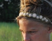 Headband Pale Pink Pewter Grey and Olive Green/Gold Felt Hand Embroidered Romantic Pretty