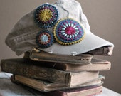 Distressed Military Style Cotton Hat with Felt Hand Embroidered Embellishments by love maude