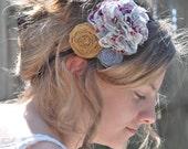 Shabby Chic Flower Headband - Mustard Yellow, Lilac Grey and Raspberry