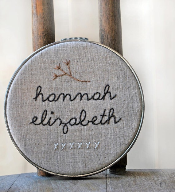 Custom Personalized Hoop Art - Baby's Name, Your Name, Any Name - Nursery Decor Baby Name Art