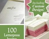 Custom designed letterpress printed wedding invites, set of 100. eco friendly
