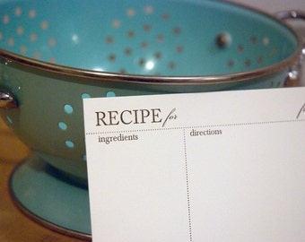 10 Letterpress Printed Recipe Cards, modern design (4x6 inches) set of 10, perfect gift, organize recipes
